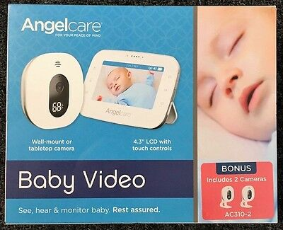 """Angelcare Baby Video Monitor, 4.3"""" Screen, Two Wide Angle Cameras"""