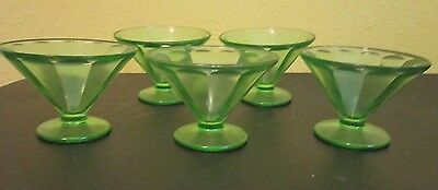 VTG Set of 5 Federal Glass Sherbet Dessert Dishes Vaseline Uranium Green Glass