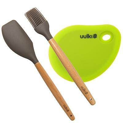 Uulki® Happy Pastry Chef Backset mit Teigschaber, Teigschaberkarte & Backpinsel