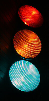 """12"""" Dialight LED Traffic / Stop Light Set Red / Yellow / Green W/ Arrows WORKING"""