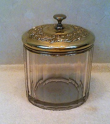 Antique Heavy Glass Eugene Vallens Choice Cigars Humidor w/ Silver Plated Lid