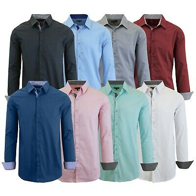 Men's Long Sleeve Casual Button-Down Solid Dress Shirts