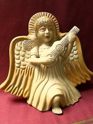 Mexican Wall Folk Art Natural Clay Pottery Winged Angel Music Figure Terracotta