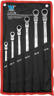 WERKZEUG 6PC Extra Long Double Ended Flexi-Head Aviation Ratchet Spanner Set