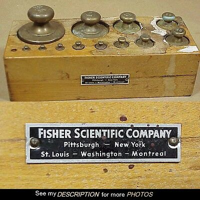 Antique Brass Balance Scale Weights Fisher Scientific Original Wood Case