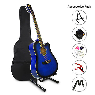 "41"" Inch Wooden Guitar Set Folk Acoustic Classical Cutaway Steel String Bag Blue"