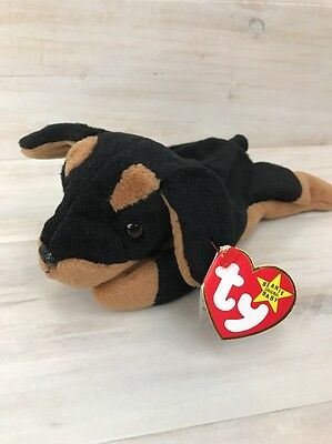 TY Beanie Baby Doby Dog 1996 Plush Stuffed Animal Toy Mint w Tags Retired PVC