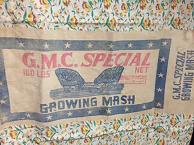 Antique Primitive NC & SC Farm Advertising Gurley Milling Chicken Feed Bag AAFA