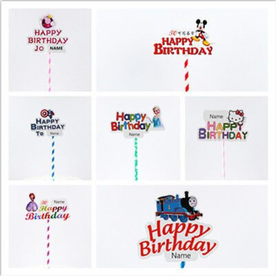 Happy Birthday Cake Toppers Fancy Decoration Picks Party Event Name Writing