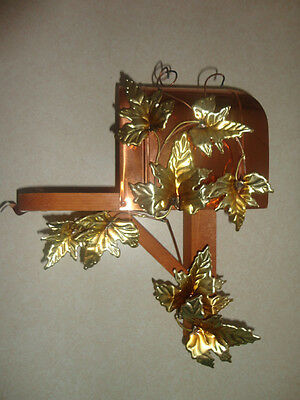 Home Interiors ''Copper & Wood Mailbox w/Brass Leaves '' Wall Accents  SALE