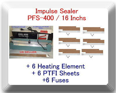 "16"" inch PSF-400 Hand Impulse Sealer + 6 Heating Element & 6 PTFI Sheets"