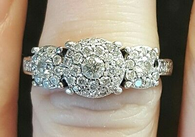 Genuine 100% 10Ct Solid White Gold 1.00Ct Diamond Engagement Ring