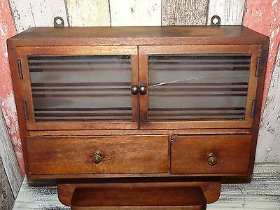 """Vintage Bulgarian Massive Wooden """"Debri"""" Wall Cabinet Apothecary Kitchen 1910's"""
