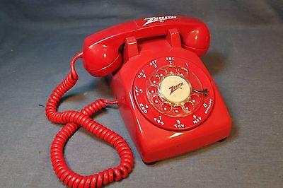 RARE RED ZENITH Radio Dealer Show Room Telephone With LOGOs & Modular Jack Works