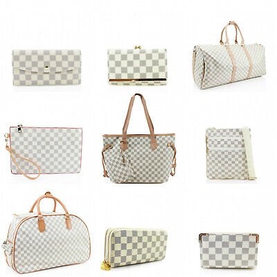 Beige Check Print Travel Trolley Duffle Holdall Ladies Women Shoulder Bag Wallet