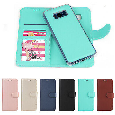Leather Removable Wallet Magnetic Flip Card Case Cover for Samsung Galaxy Phone