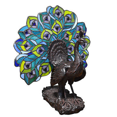 Tiffany Style Glass Peacock Fan Table Lamp 13'' x 14''H.