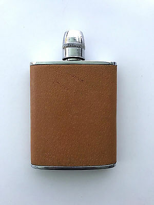 Vintage Leather Bound 6 oz Hip Flask Thimble Cup Top Made in England