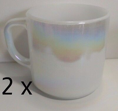 Pair of Federal Glass Heat Proof Iridescent Opalescent Moonglow Milk Glass Mugs