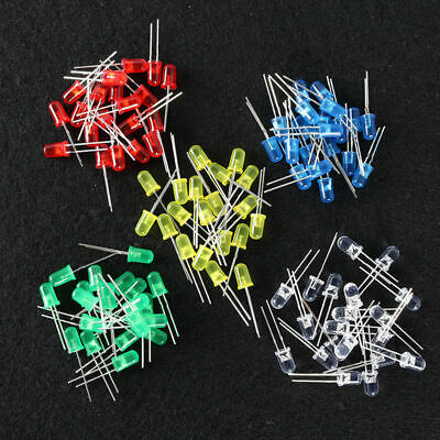 100x LED Assorted Colors Individual 5mm 3V PCB Kit Green/White/Red/Blue/Yellow