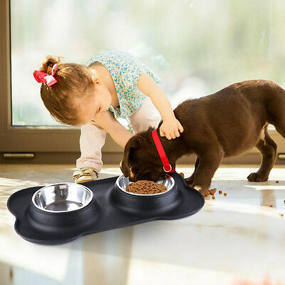 Pet Dog Cat  Food Feeder Stainless Steel Double Bowl +Silicone Non-Spill Mat  AU
