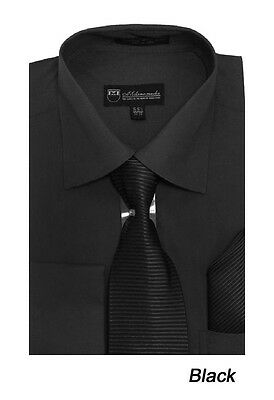 Men's French Cuff Solid Dress Shirt w/ Matching Tie and Hanky Set 27 Black
