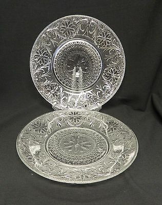 Sandwich Pattern Indiana Glass Clear Crystal Dinner Plates Two Vintage