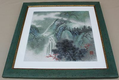 VINTAGE CHINESE Framed Asian Tapestry Embroidery String Art MOUNTAIN SCENE NICE!
