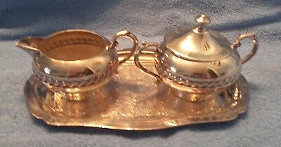 Silverplate on copper Creamer Cream and Sugar Bowl with Tray