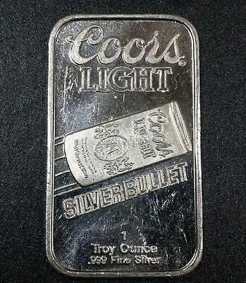 Coors Light Can Beer Silver Bullet Vintage Collectible Bar 1 Troy Oz .999 Silver