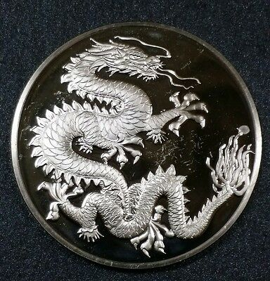 1977 Franklin Mint Chinese Dragon Good Luck Silver Coin 25 grams.925 Sharp Rare