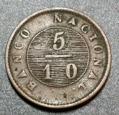 1828 ☆ARGENTINA☆ (BUENOS AIRES) 5/10 REAL☆ AU☆Very Rare High Value Coin