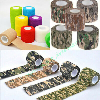 Elastic Breathable NonWoven Wound Cohesive First Aid Bandage Camouflage WrapTape