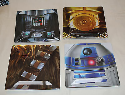 Star Wars Set Of 4 Melamine Platters R2-D2 C-3P0 Darth Vader Chewbacca New