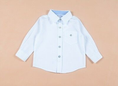 NEW Toddler Boys White Cotton Woven Long Sleeves Shirt Top Size 12-18-24 months