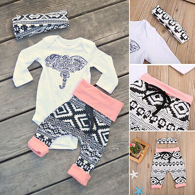 UK Newborn Baby Boy Girl Tops Long Sleeve Romper+Pants 3pcs Outfits Clothes 0-24