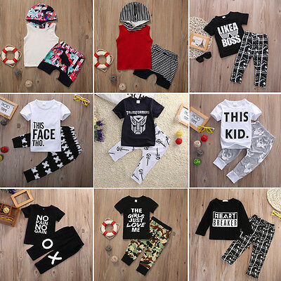 UK Toddler Baby Boy Casual T-shirt Tops+Pants 2pcs Outfits Clothes Set Lots