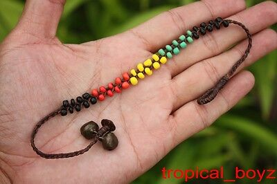10 Handmade RASTA Polymer Waxed Nylon Bells Anklets Wholesale with buttons