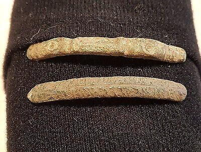Two stunning Viking bronze bracelet parts found in England lovely detail L34q