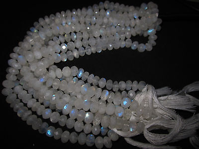 "8"" Natural Fire Play RAINBOW MOONSTONE Faceted Rondelle GEMSTONE BEADS Strand"