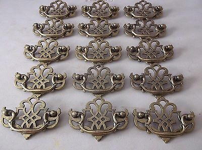 (15) Vintage Brass Finish Drawer Pulls / Handles -- Original Screws Included