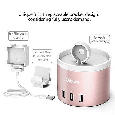 Apple Watch Charging Stand 3 in 1 Power Charger w/ 4-Port USB iPhone Holder New