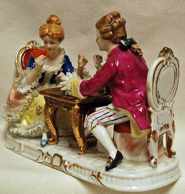 Antique KPM Dresden German Porcelain Figural Grouping Couple Playing Cards