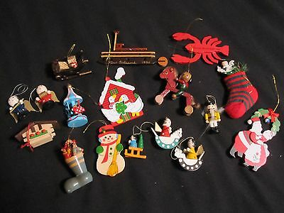 Vintage Lot of 17 Wooden Christmas Ornaments Bright Colors Collectible