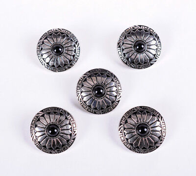 10X 30Mm Sun Flower Black Bead Silver Screw Back Saddles Leathercraft Conchos