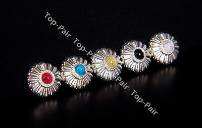 5X 16Mm Turquoise Flower Bling Silver Leathercraft Belt Conchos Screw Back