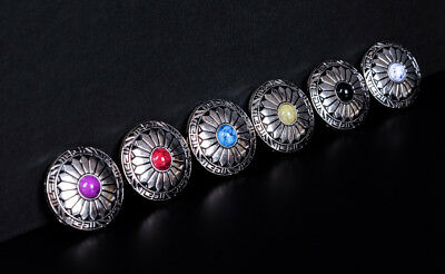 6X 30Mm Sun Flower 6 Colors Turquoise Silver Screw Back Western Decor Conchos