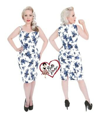 6f44ae963ecfa Hearts & Roses White Blue Floral Blossom Rockabilly Fitted Retro Wiggle  Dress