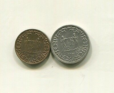 Suriname - Two (2) Beautiful 1962 Unc Coins, 1 & 25 Cents