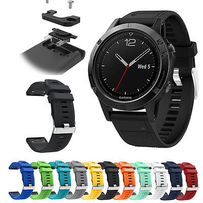 Quick Fit 22mm Silicone Bangle Strap Band Replacement For Garmin Fenix 5 Watch